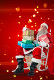 Composite image of portrait of santa claus holding stack of christmas presents. Portrait of Santa Claus holding stack of Christmas presents against bright star stock photos