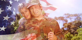 Composite image of portrait of simling army man with wife vector illustration