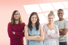 Composite image of portrait of smiling business team with arms crossed. Portrait of smiling business team with arms crossed against red vignette Stock Image