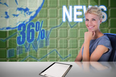 Composite image of portrait of smiling businesswoman sitting on chair. Portrait of smiling businesswoman sitting on chair against green stock photography
