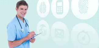 Composite image of portrait of smiling doctor holding clipboard and pen Royalty Free Stock Photography