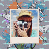 Composite image of portrait of a smiling hipster woman holding retro camera. Portrait of a smiling hipster woman holding retro camera against composite image of stock photos