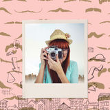 Composite image of portrait of a smiling hipster woman holding retro camera Royalty Free Stock Photo