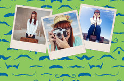Composite image of portrait of a smiling hipster woman holding retro camera. Portrait of a smiling hipster woman holding retro camera against composite image of stock image