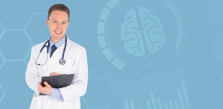 Composite image of portrait of smiling male doctor writing on clipboard. Portrait of smiling male doctor writing on clipboard against blue Stock Images