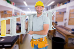 Composite image of portrait of smiling repairman carrying ladder Royalty Free Stock Images
