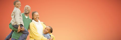 Composite image of portrait of a smiling young family laughing. Portrait of a smiling young family laughing against abstract yellow background stock image