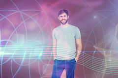 Composite image of portrait of smiling young man with hands in pockets. 3D Portrait of smiling young man with hands in pockets  against futuristic screen Royalty Free Stock Photo