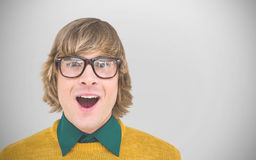 Composite image of portrait of surprised hipster businessman Stock Images