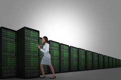 Composite image of portrait of a young businesswoman pushing a panel Royalty Free Stock Image
