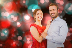 Composite image of portrait of young couple embracing each other Royalty Free Stock Photography