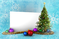 Composite image of poster with christmas tree. Against blue snow flake pattern design Stock Photo