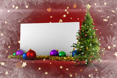 Composite image of poster with christmas tree. Against bright star pattern on red Royalty Free Stock Images