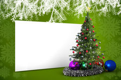 Composite image of poster with christmas tree. Against green snowflake design frame pattern Stock Photography