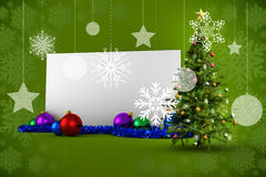 Composite image of poster with christmas tree. Against green snowflake design frame pattern Royalty Free Stock Images