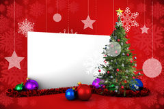 Composite image of poster with christmas tree. Against red snowflake design frame pattern Royalty Free Stock Photo