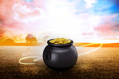 Composite image of pot of gold Stock Image