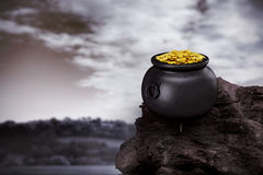 Composite image of pot of gold Royalty Free Stock Images