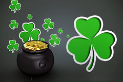 Composite image of pot of gold Royalty Free Stock Photo