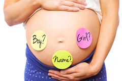 Composite image of pregnant woman with stickers on bump Royalty Free Stock Photos