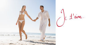 Composite image of pretty blonde walking away from man holding her hand Stock Image