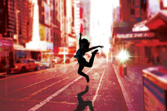 Composite image of pretty break dancer Royalty Free Stock Images