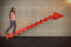 Composite image of pretty brunette stepping 3d Stock Photography