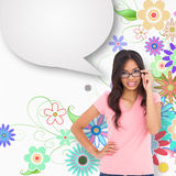 Composite image of pretty brunette thinking with speech bubble Stock Image
