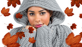 Composite image of pretty girl in winter jumper looking at camera Stock Photo