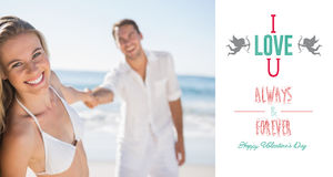 Composite image of pretty woman smiling at camera with boyfriend holding her hand Stock Images