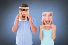 Composite image of pretty young blonde feeling surprised Stock Photo