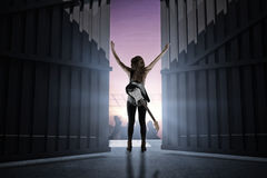 Composite image of pretty young girl with her guitar raising arms 3d stock photo