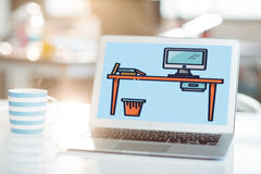 Composite image of print. Print against laptop and coffee mug on table Stock Image