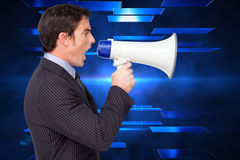 Composite image of profile of a businessman shouting through a megaphone. Profile of a businessman shouting through a megaphone against abstract technology Stock Photos