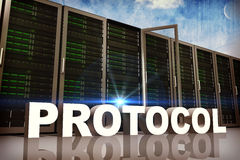Composite image of protocol. Protocol against painted blue sky Royalty Free Stock Image