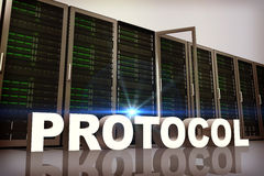 Composite image of protocol. A protocol against server towers Stock Photos