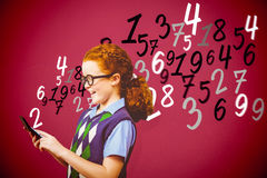Composite image of pupil with calculator Royalty Free Stock Photography