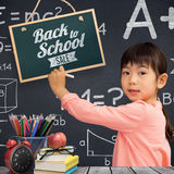 Composite image of pupil drawing with chalk Stock Images