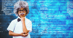Composite image of pupil dressed up in wig. Pupil dressed up in wig against shiny blue binary code on black background Royalty Free Stock Photography