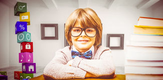 Composite image of pupil with many books. Pupil with many books against big room with frames at wall royalty free stock photos