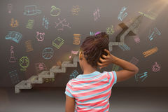 Composite image of pupil thinking. Pupil thinking against digital composite image of gray steps moving up stock images
