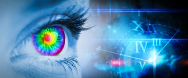 Composite image of pyschedelic eye on blue face Stock Photos