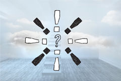 Composite image of question mark doodle with exclamation marks Stock Photo