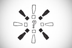 Composite image of question mark doodle with exclamation marks Royalty Free Stock Images