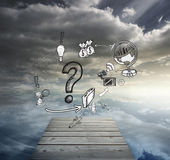 Composite image of question mark with earth and profit doodles Stock Images