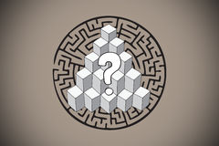 Composite image of question mark over puzzle doodle Royalty Free Stock Photo