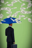 Composite image of rear view of businessman holding blue umbrella and briefcase Royalty Free Stock Photos