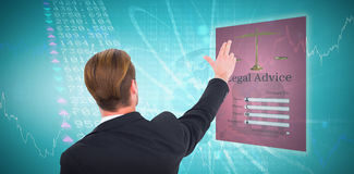 Composite image of rear view of businessman pointing with his fingers. Rear view of businessman pointing with his fingers against stocks and shares royalty free stock photo