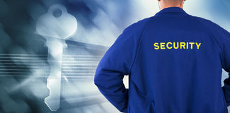 Composite image of rear view of security officer in uniform. Rear view of security officer in uniform against virus background Stock Images