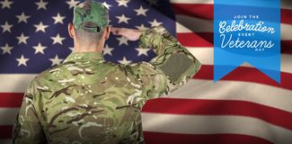 Composite image of rear view of soldier saluting. Rear view of soldier saluting against logo for veterans day in america Stock Image